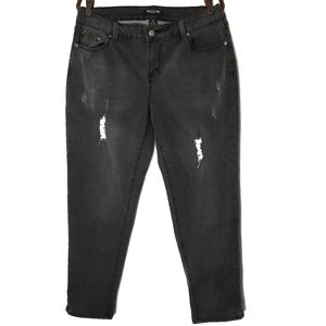 Baccini Faded Black Distressed Jeans Size 14W